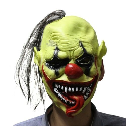 Halloween Scary Mask with Wig Hair Green Face Clown Latex Lightweight
