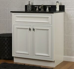 Jsi Danbury White Bathroom 24 W Vanity Cabinet Base 2 Doors Solid Wood Frame New Ebay