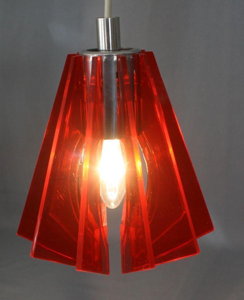 Alte DDR Pendelleuchte Lampe ROT Acryl 60er/70er true vintage Space Age Design