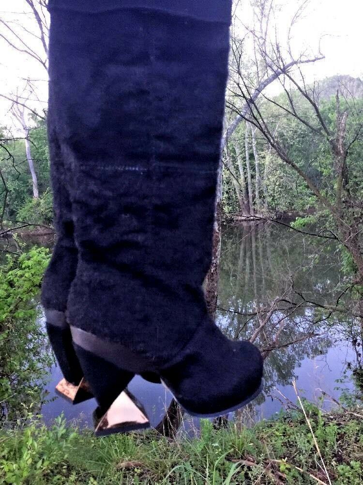 IRREGULAR Boots CHOICE Cowboy Boots IRREGULAR Black Bear Rabbit Fur LEATHER  Womens Shoes Sz 5.5 773666