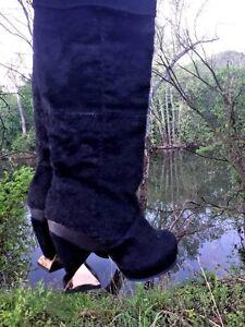 IRREGULAR-CHOICE-Cowboy-Boots-Black-Bear-Rabbit-Fur-LEATHER-Womens-Shoes-Sz-5-5