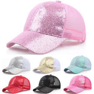 5baabbf09a9 Image is loading Womens-Girls-Ponytail-Baseball-Cap-Sequins-Shiny-Messy-