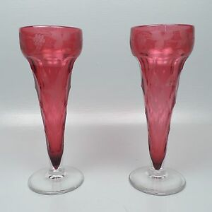 Image Is Loading Pair Large English Or Bohemian Faceted Engraved Cranberry