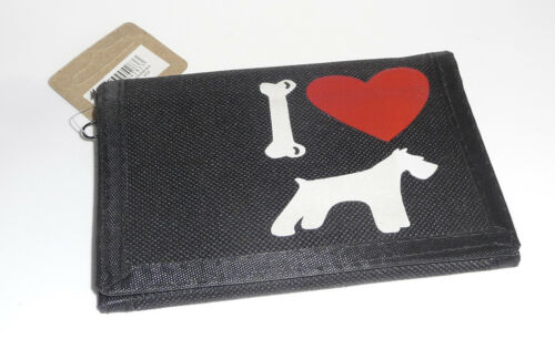 Black Nylon Wallet With I Love my Schnauzer