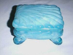 Antique Vintage BOYD BLUE MILK SLAG Glass Dresser /Vanity Trinket or Jewelry Box