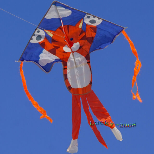 "35""X47""cute tiger kite single line outdoor sports for kids Delta kites long tail"