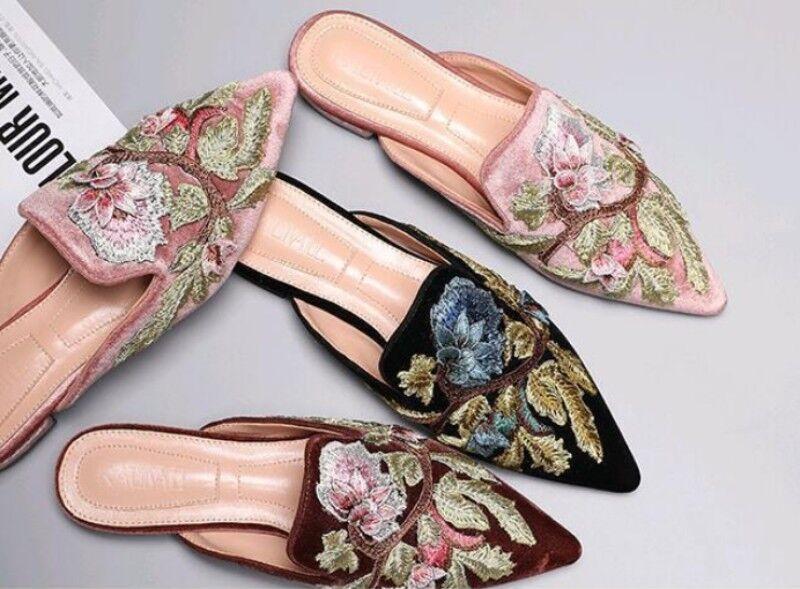 Donna Motivo Vintage Floreale Scarpe Basse Scarpe Vintage Motivo Velluto Linea Donna Scarpe A Punta 1b7374