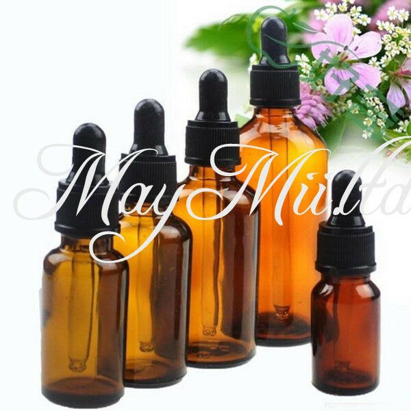 50ml Amber Glass Liquid Reagent Pipette Bottle Eye Dropper Aromatherapy H