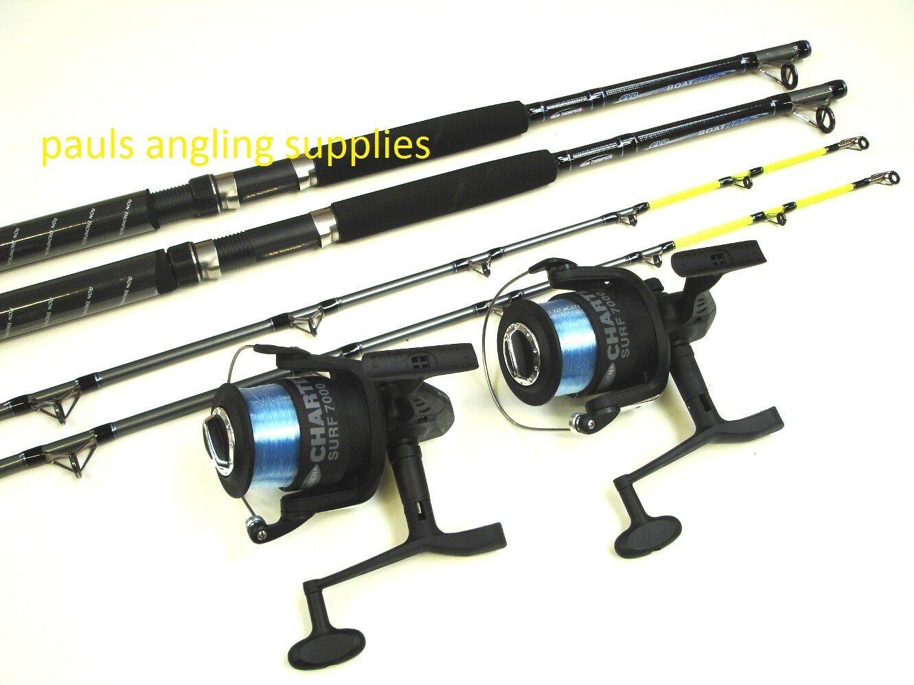 2 x Okuma Boat Fishing Rods & Fladen Charter Reels + Line