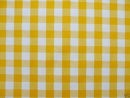 YELLOW GINGHAM CHECK 1.4x1.4m SQUARE WIPECLEAN PVC//VINYL TABLECLOTH