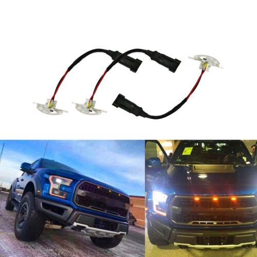 3X Clear 12-SMD Xenon Amber LED Front Grille Running Lights For Ford Raptor