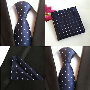 Men-New-Polka-Dots-Dark-Blue-Silk-Tie-Pocket-Square-Handkerchief-Set-Lot-HZ074