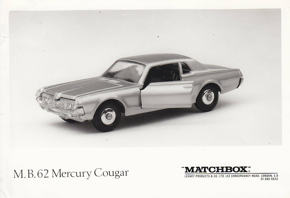 Matchbox News News Journal July 1968 number 62c Mercury Cougar with S & W Photo