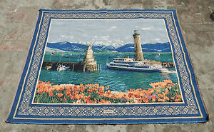 Vintage Beautiful Sea & Ships Scene Tapestry 142x113cm (A747)