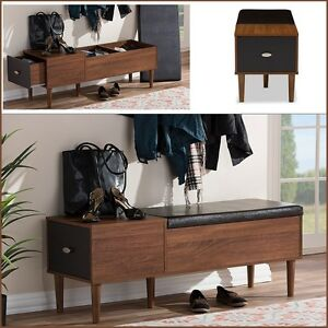 Strange Details About Entryway Storage Bench Mid Century Style Side Table Hallway Wood Drawer Retro Gmtry Best Dining Table And Chair Ideas Images Gmtryco