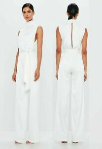 Missguided-White-Black-Satin-High-Neck-Belted-Jumpsuit-Size-UK-6-EU-34-US-2