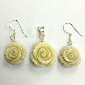 BEAUTIFUL-IVORY-COLOR-ROSE-FLOWER-EARRINGS-AND-PENDANT-SET-925-STERLING-SILVER