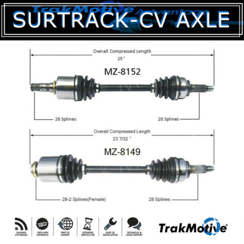 Front Left+Right Set of 2 Cv Axle Shaft SurTrack For 2005-2013 Mazda 3 UU27