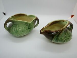 Lovely Vintage 1940's McCoy Daisy Pattern Creamer and Sugar Bowl Set Preowned