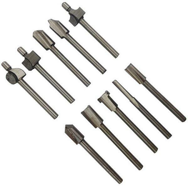 10pcs Shank HSS Titanium Router Bits 1//8 Inch for Rotary Tool NEW