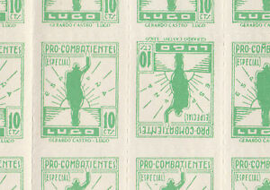 Spain - Civil War 3247 - Prpaganda 10c green TETE-BECHE in complete sheet of 50