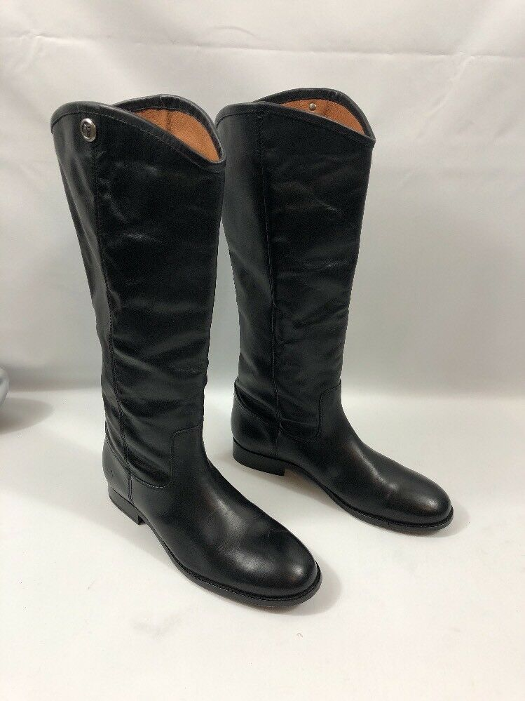 FRYE Riding Stiefel Melissa Button Tall  Pull Leder Knee High Boot Pull  On Slate 9.5 f840d6
