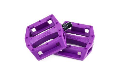 MISSION IMPULSE Violet 9/16 3-Piece Crank plastique BMX vélo pédales