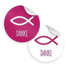 24x Itenga Sticker Fisch Danke Motiv 34 4cm Aufkleber Taufe Kommunion Konfirmation