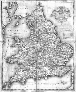 Map Of England Rivers And Canals.England Wales Roads Rail Canals Rivers Lewis 1831 Old Antique