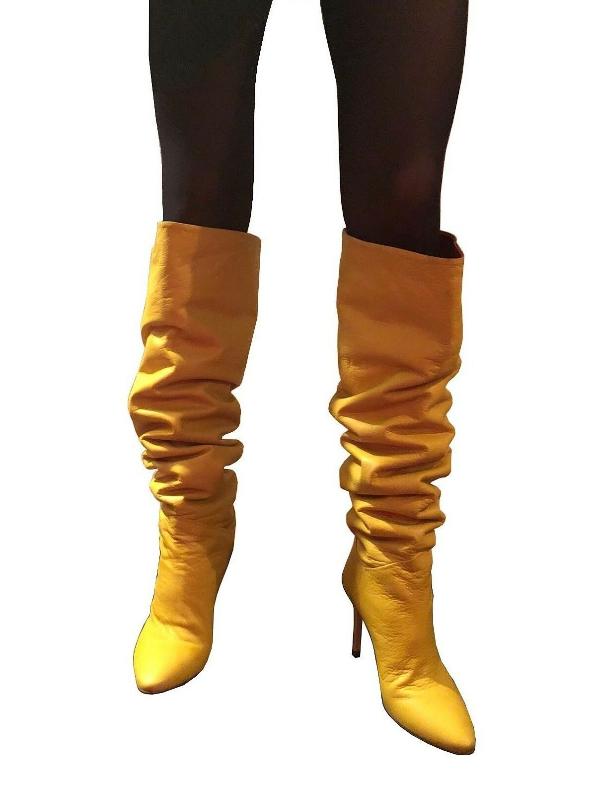CQ COUTURE ITALY CUSTOM CUSTOM CUSTOM OVERKNEE BOOTS STIEFEL STIEFEL LEATHER YELLOW GELB 41 0d65a2