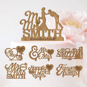 Details About Personalised Wedding Cake Topper Romantic Wooden Images Keepsake Decoration