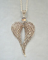 "Large Guardian Angel Wings Silver Crystal Pendant 32"" Long Chain Necklace"