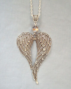 Image is loading Large-Guardian-Angel-Wings-Silver-Crystal-Pendant-32- de1fe354d
