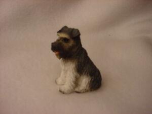 GRAY SCHNAUZER uncropped ear puppy TiNY FIGURINE Dog MINIATURE Mini resin Statue