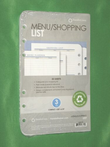COMPACT ~ 50 Pages ~ MENU SHOPPING LIST ~ Franklin Covey Planner REFILL New