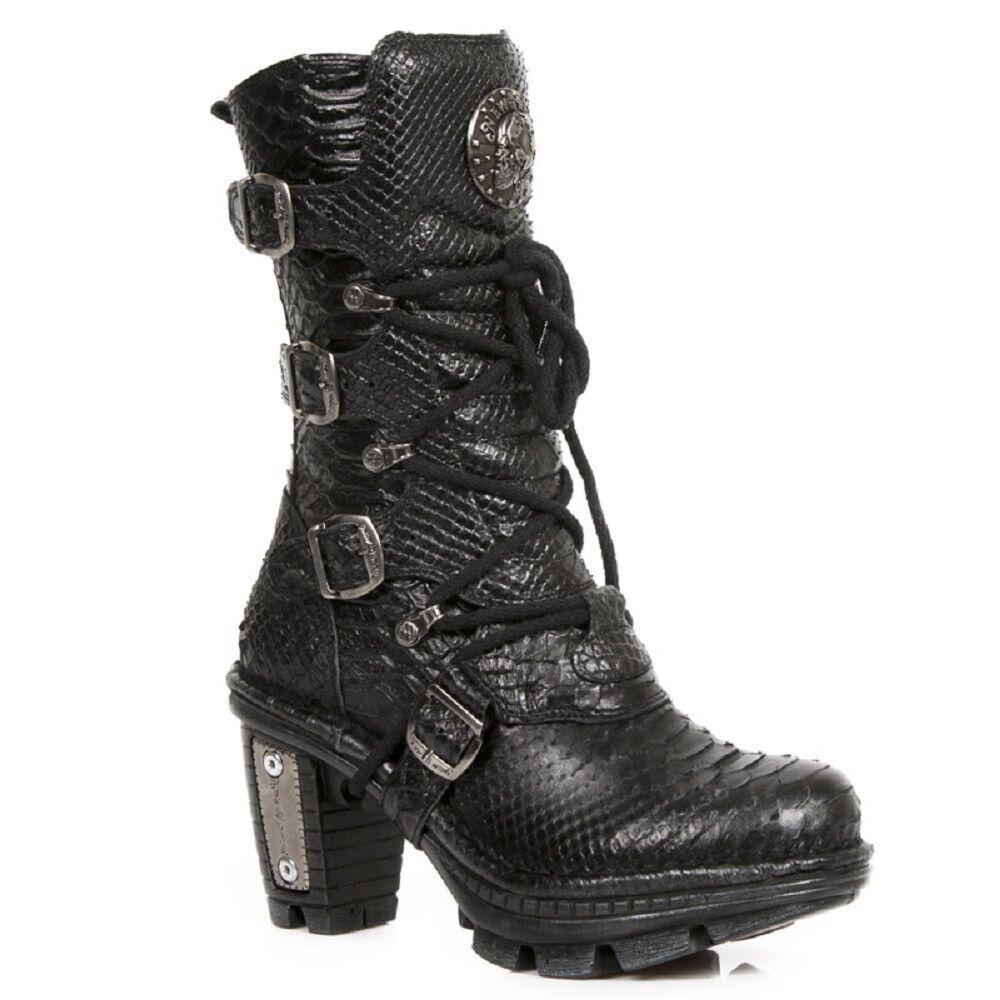 New Rock Mujeres De Cuero Biker Serpiente Diseño Talón bota-NEOTR 005.S19 Metálico