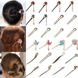Chinese-Style-Metal-Wood-Crystal-Hair-Chopsticks-Hair-Stick-Hairpin-Chignon-Pin