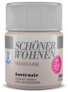 Details zu Schöner Wohnen Trendfarbe Wandfarbe Deckenfarbe Hortensie  Farbtontester 50 ml