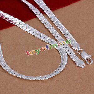 5mm-Kette-Flach-50cm-925-Sterling-Silber-plattiert-Schlangenkette-Halskette