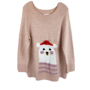 LC-Lauren-Conrad-Size-XL-Pink-Polar-Bear-Tunic-Sweater-Holiday-Sweater-Pullover