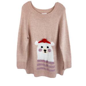 LC-Lauren-Conrad-Pink-Polar-Bear-Tunic-Sweater-Scoop-Neck-Pullover-Womens-XL