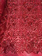 RED 4 WAY STRETCH SNOWFLAKE GEOMETRIC SHINNY SEQUINS FABRIC BY THE YARD