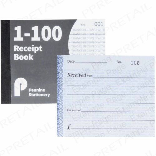 SMALL A6 RECEIPT BOOKS Cash Notepad//Invoice Pad 1-100 Numbered Pages Notebook