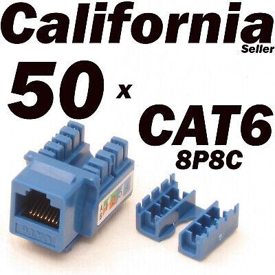 24 Pcs CAT3 RJ11 RJ12 Keystone Jack Telephone Phone Line 110 Punch Down Blue