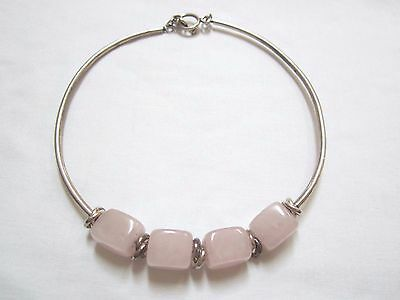 SILPADA STERLING SILVER AND PINK ROSE QUARTZ NECKLACE RETIRED N1310