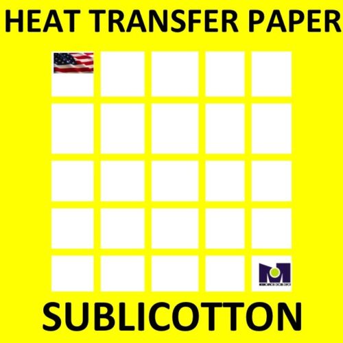 SUBLICOTTON Heat Transfer Paper 8.5x11 25 Sh for Dye Sublimation Inks In Cotton