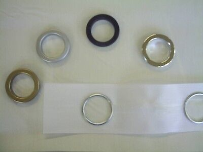 Curtain Eyelets Header Tape with Eyelet Rings Black Chrome Matt Brass Silver