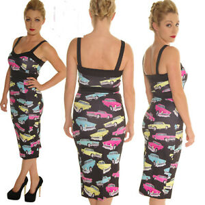 SCUBA-WIGGLE-PENCIL-DRESS-VINTAGE-CARS-ROCKABILLY-ALTERNATIVE