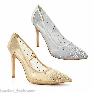 f4a9869744ff Image is loading Womens-Diamante-Mesh-High-Heel-Stiletto-Pointed-Court-