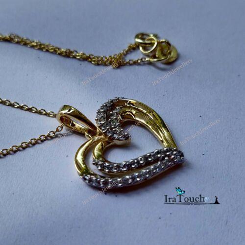 0.30Ctw Round VVS1 Diamond Double Heart Pendant Necklace 14K Yellow Gold Over